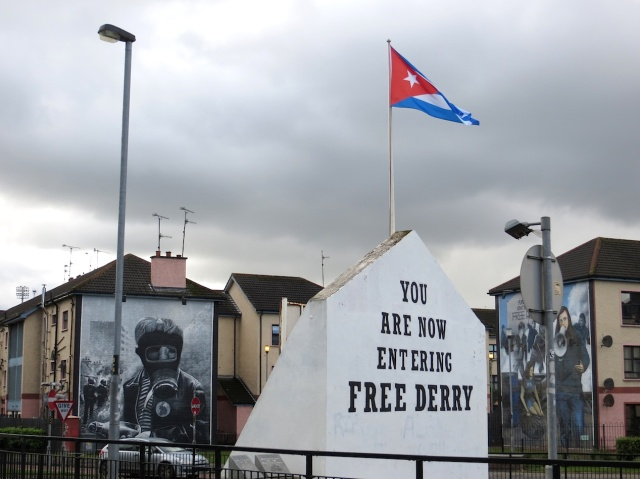 The flag was in support of a Cuban prisoner.