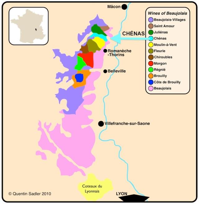 beaujolais wine map Chenas