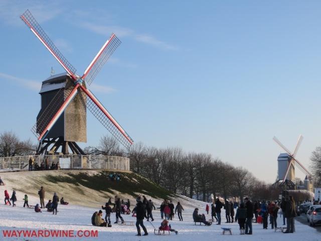 Windmill Sled Bruges Belgium