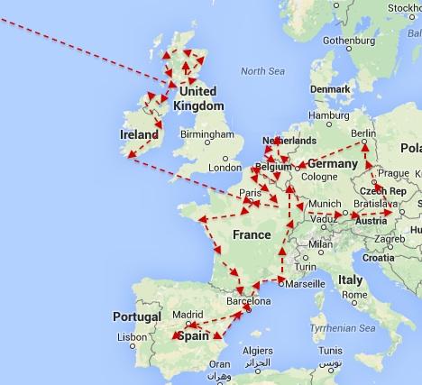 EU Map New York To Paris Day 191