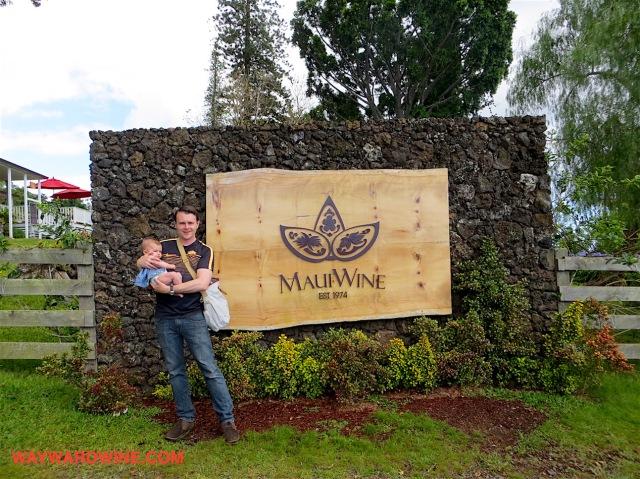 Dad Baby Maui Winery Entrance
