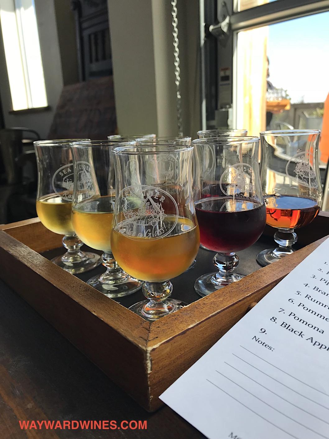 Sea Cider Glasses Flight Close